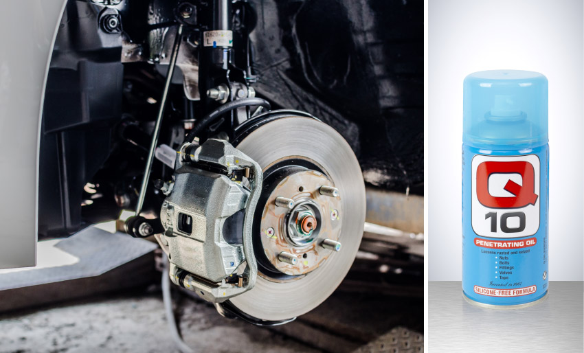 Q 10 penetrating oil silicone free q oils europe release seized nuts bolts remove dust grease grime dirt car parts components engine compartment uk