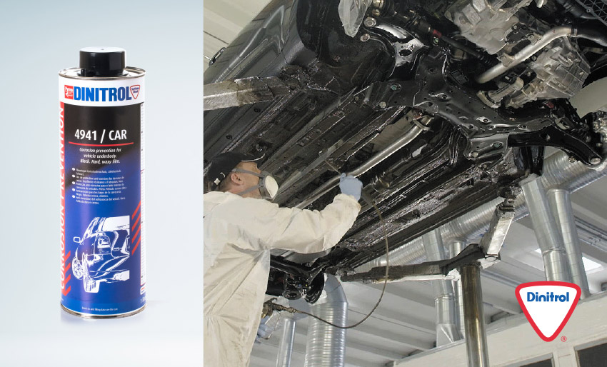 dinitrol 4941 car underbody chassis coating black bitumen underseal for landrover restoration corrosion protection project