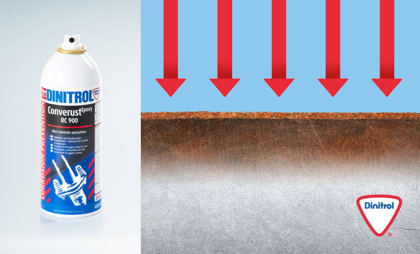 dinitrol rc 900 rust converter rust remover aerosol spray penetrates 7 to 10 times deeper stable iron complex stop rust