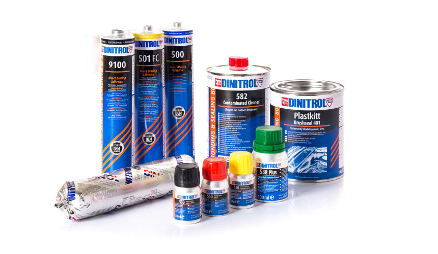 dinitrol bonding sealing sealant adhesive glass sunroof repair non bonded windows commercial vehicle caravan construction metal wood glass duroplastics glassfibre